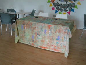 Tablecloth at the Point's 20th Birthday celebration on the 12th June. It wasn't presented on the 6ft table.
